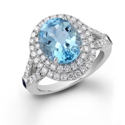 14k White Gold Aquamarine Stone Ring