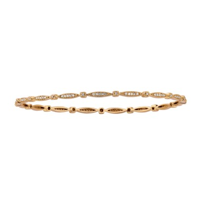 14k Yellow Gold Vintage Design Pave Bangle Bracelet