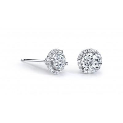 14k White Gold White Diamond Halo Stud Earrings
