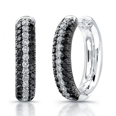 14k White Gold Black and White Pave Diamond Hoop Earrings