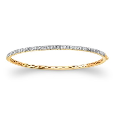 14k Yellow Gold White Diamond Bangle Bracelet