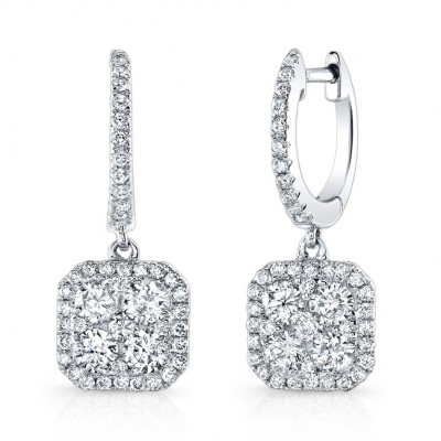 14K White Gold Square Halo Dangle Earrings