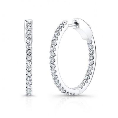 14k White Gold White Diamond Inside Outside Hoops