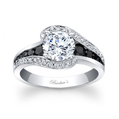 Modern Black Diamond Engagement Ring