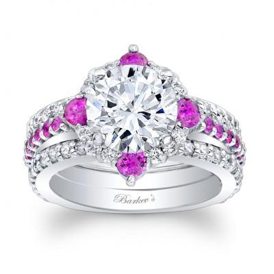 Pink Sapphire Halo Bridal Set