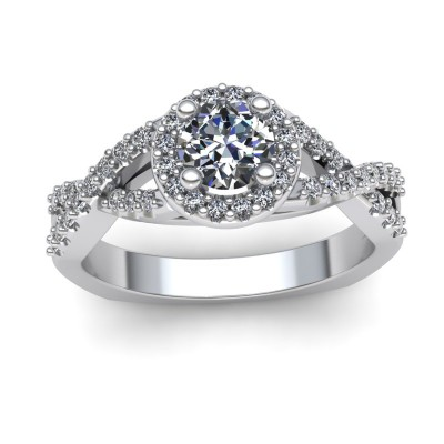 Halo Engagement Ring with Twist Shank