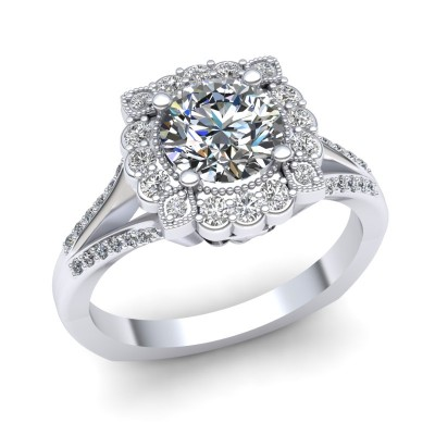 Halo Engagement Ring with Split Shank