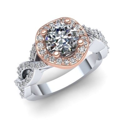Wave Halo Engagement Ring with Infinity Shank