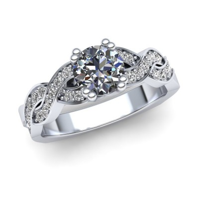 Engagement Ring with Swirl Shank Design