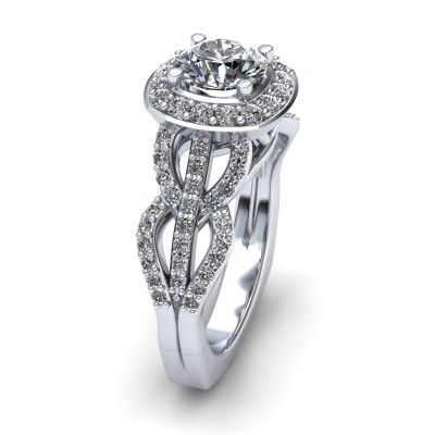 Cushion Halo Engagement Ring with Detailed Shank