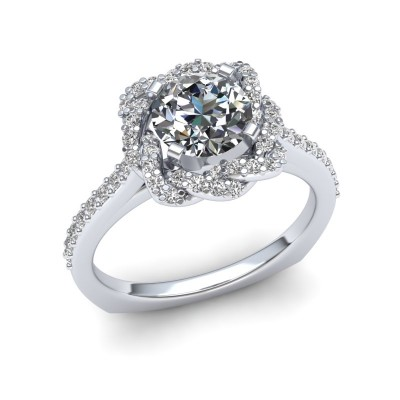 Weave Halo Engagement Ring
