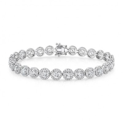 18k White Gold Diamond Halo Bracelet