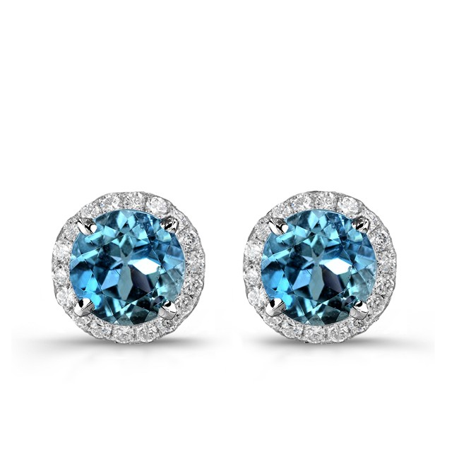 14k White Gold Treated Blue Diamond Stud Earrings with White Diamond Halo