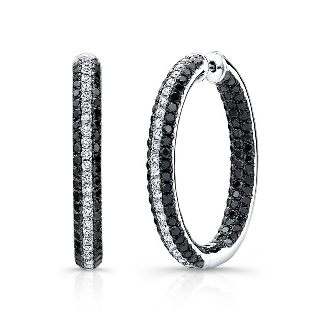 14k White and Black Gold Inside Outside Hoops with White and Black Diamonds