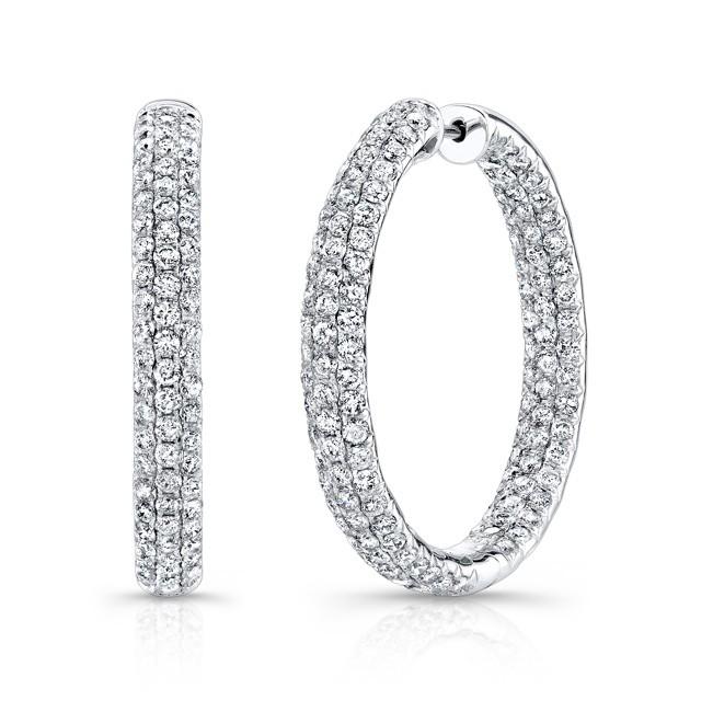 14k White Gold Inside Outside White Diamond Hoops