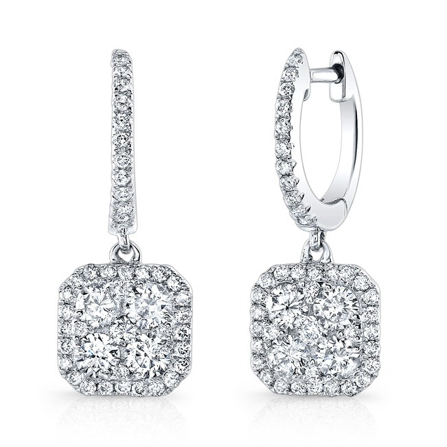 14K White Gold Square Halo Dangle Earrings