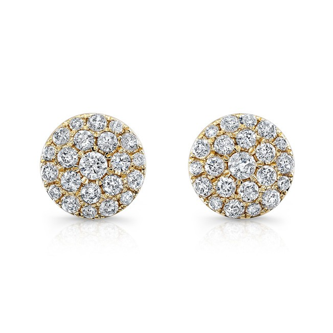 14k Yellow Gold White Diamond Stud Earrings