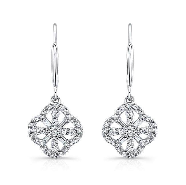14k White Gold White Diamond Drop Earrings
