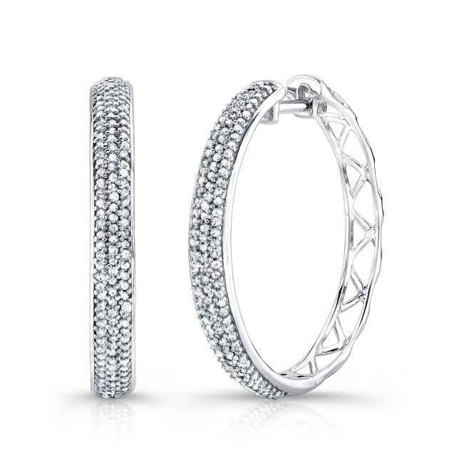 14k White Gold White Diamond Hoops