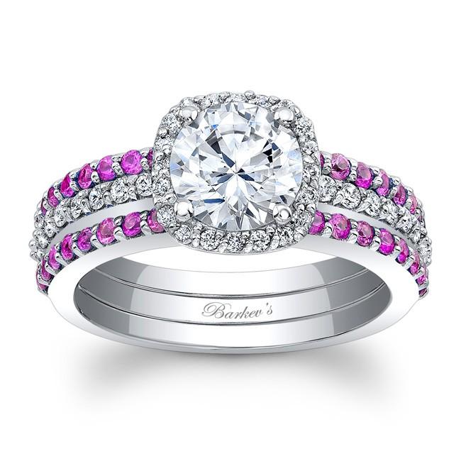 Pink Sapphire Bridal Set