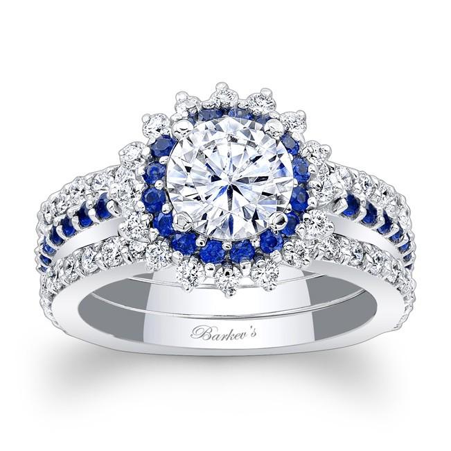 Blue Sapphire Halo Bridal Set