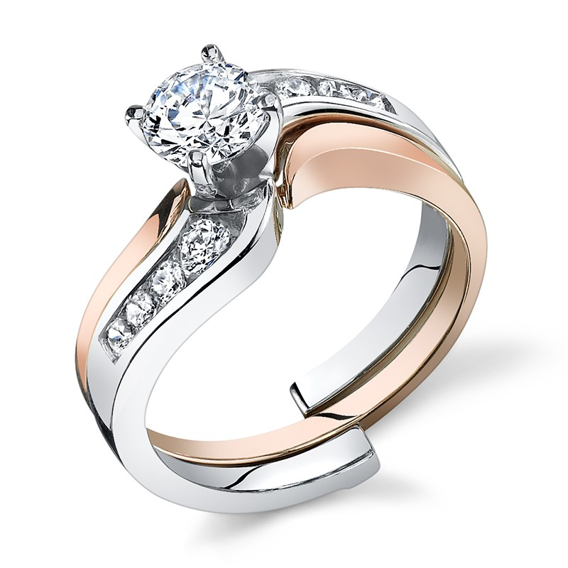 Channel Set Engagement Ring with Rose Slide Thru Band
