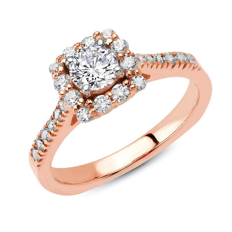 Halo Engagement in Rose Gold