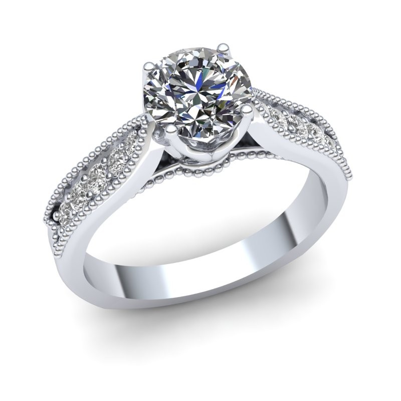 Fixed Head Engagement Ring with Milgrain