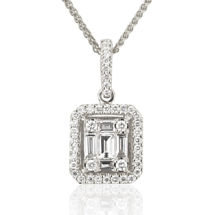 Round and Baguette Diamond Pendant (0.50 ct. tw.)
