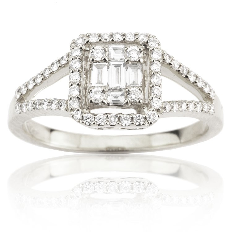 Round and Baguette Diamond Ring (0.45 ct. tw.)