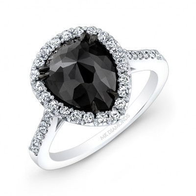 14k White And Black Gold Rose Cut Pear Shaped Blac